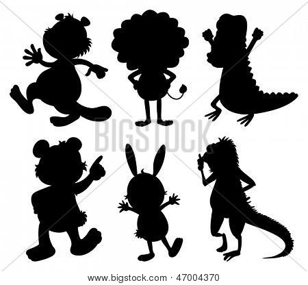 Illustration of the silhouettes of wild animals on a white background