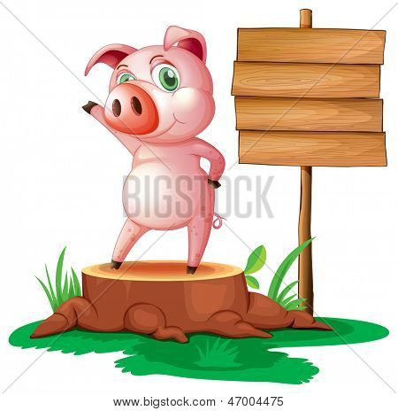 Illustration of a pig above a stump near the empty signage on a white background