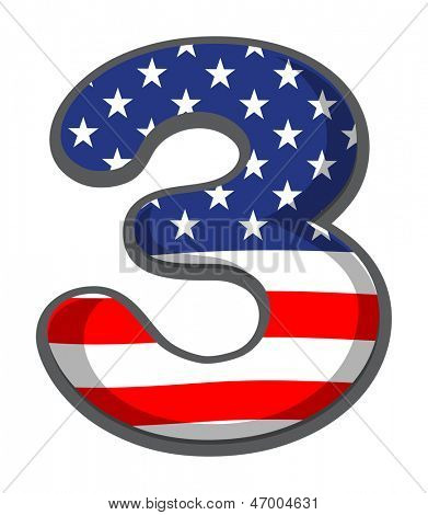 Illustration of a number three figure with the USA symbols on a white background
