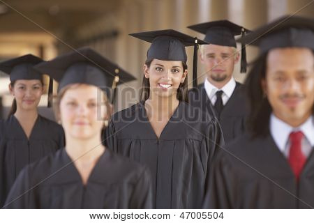 College students in cap and gown