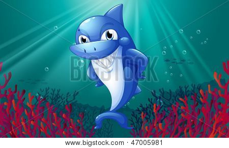 Illustration of a blue shark smiling under the sea