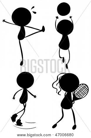 Illustration of the silhouettes of people playing with the different sports on a white background