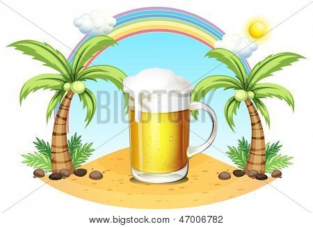 Illustration of a glass of beer at the beach on a white background