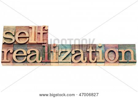 self-realization word  - spiritual concept - isolated text in letterpress wood type