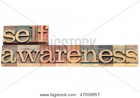 self-awareness word  - spiritual concept - isolated text in letterpress wood type