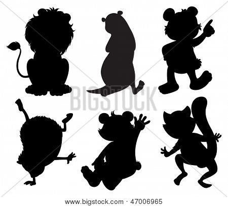Illustration of the silhouettes of animals on a white background