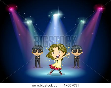 Illustration of a young singer at the center of the stage