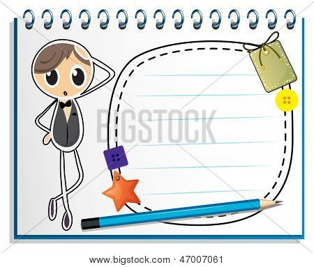 Illustration of a notebook with an empty nametag on a white background