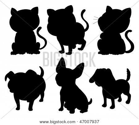 Illustration of the silhouettes of cats and dogs on a white background