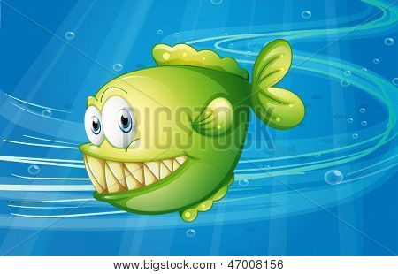Illustration of a green fish under the sea