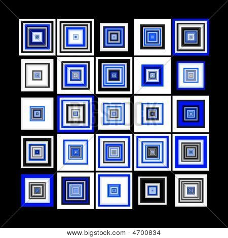 Multiple Blue And Black Squares