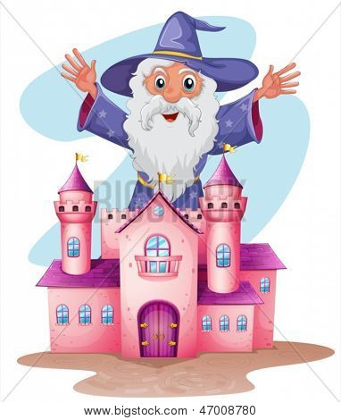 Illustration of a pink castle with a wizard at the back on a white background