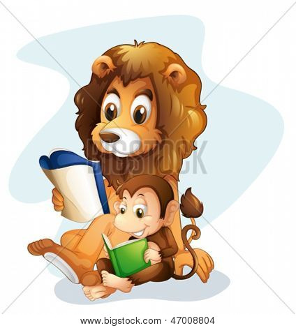 Illustration of a monkey and a lion reading books on a white background