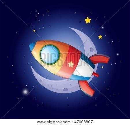 Ilustración de un cohete a la luna