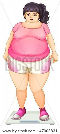 Illustration of a fat girl on a white background