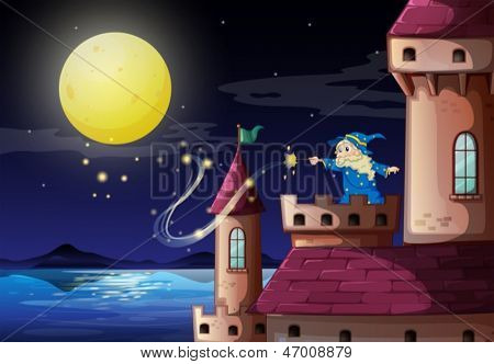 Illustration of an old wizard at the castle port