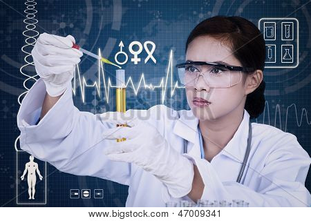 Beautiful Female Scientist Using Pipette On Digital Background