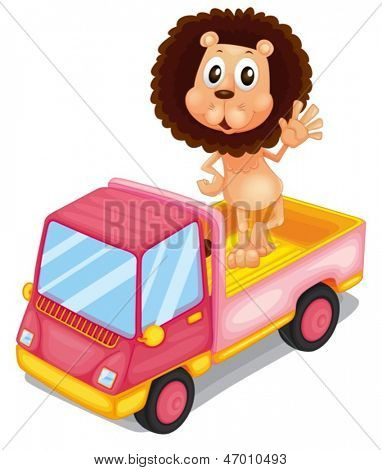 Illustration of a pink cargo truck with a lion waving at the back on a white background