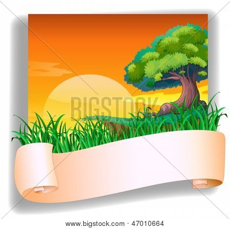 Illustration of a field with a sunset view and an empty template on a white background