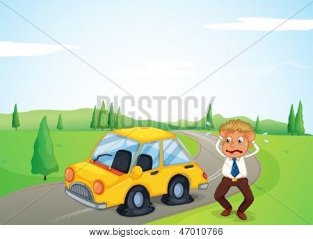 Illustration of a man beside his yellow car with a flat tire