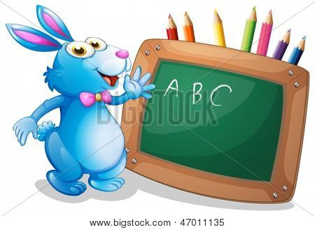 Illustration of a bunny in front of a chalkboard with pencils at the back on a white background