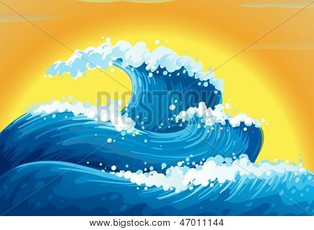 Illustration of the waves and the sun