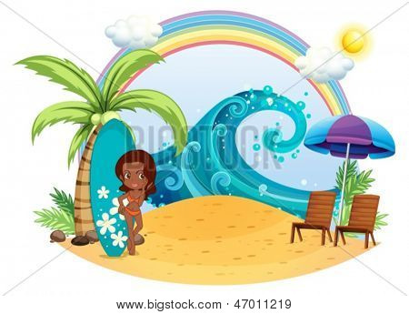 Illustration of a tan girl at the beach with a surfing board on a white background