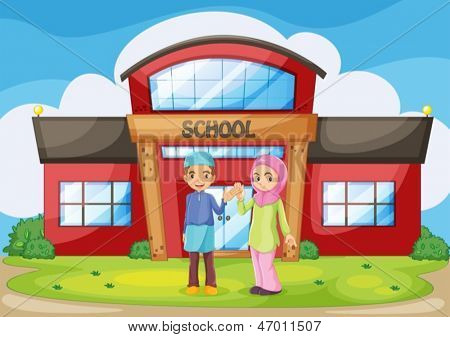 Illustration of a muslim couple holding their hands in front of the school