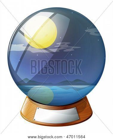 Ilustración de una bola de cristal con una luna llena dentro sobre un fondo blanco