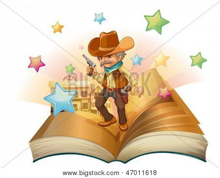 Illustration of an open book with an armed cowboy on a white background