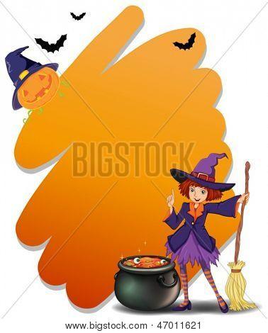 Beispiel für eine Hexe hält ein Besenstiel neben ihrem magischen Topf auf weißem Hintergrund