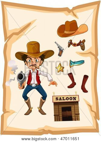 Illustration of a poster with an armed old cowboy and a saloon bar on a white background