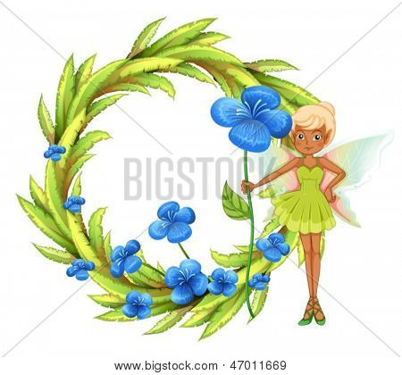 Illustration of a round leafy border with a fairy holding a blue flower on a white background