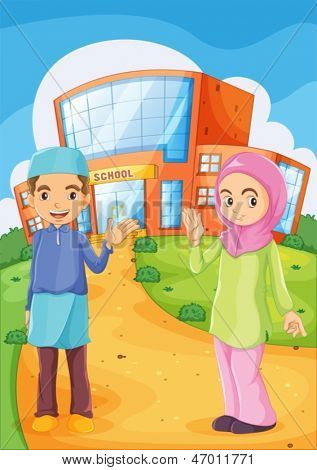 Illustration of a male and a female Muslim in front of a school building