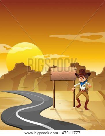 Ilustración de un vaquero enojado al lado del tablero vacío en el desierto