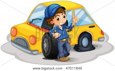 Illustration of a male mechanic fixing the yellow car on a white background