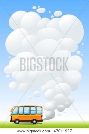 Ilustração de um ônibus laranja emitindo fumaça
