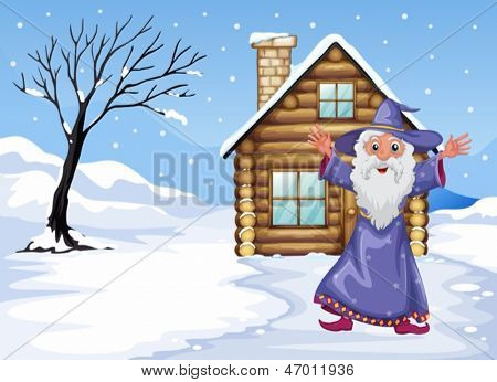 Illustration of a wizard outside the house on a snowy season