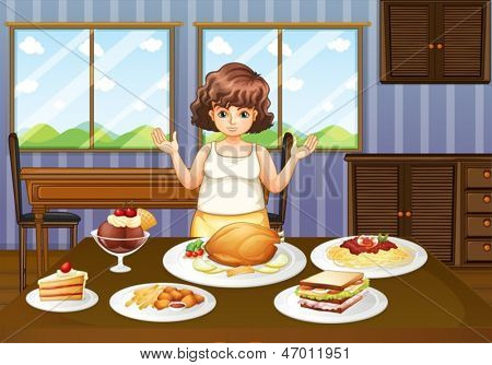 Illustration of a fat lady in front of a table with many foods