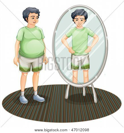 Illustration of a fat man outside the mirror and a skinny man inside the mirror on a white background