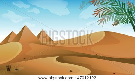 Illustration of a landscape at the desert