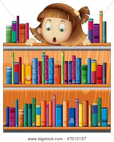 Illustration of a shocked face of a girl at the back of a wooden shelves with books on a white background