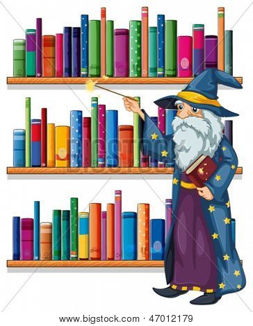 Illustration of a wizard holding a wand in front of the shelves with books on a white background