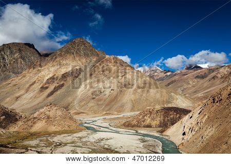 Himalayan landscape in Himalayas near Baralacha La pass. Himachal Pradesh, India