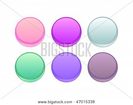 Colorful button vector set. Design elements isolated on white background
