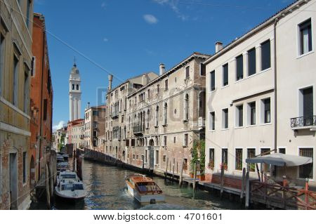 Canal In Center Of Venice.