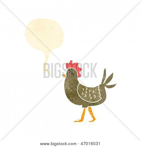 retro cartoon hen clucking,