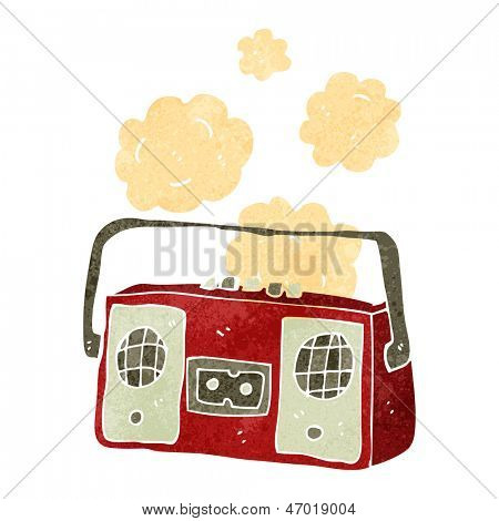 retro cartoon old radio cassette player