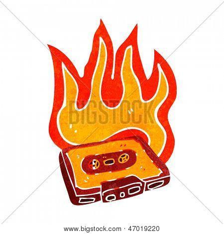 retro cartoon burning cassette tape