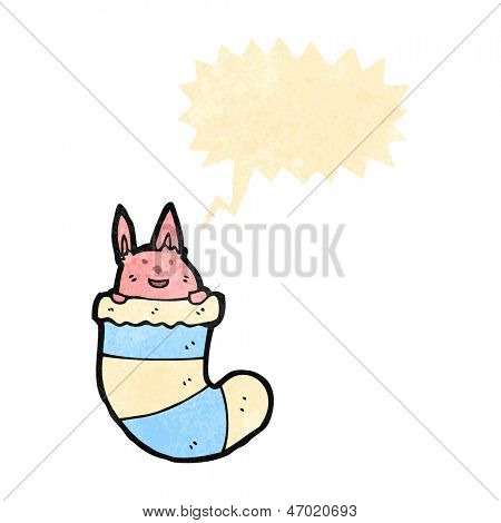 retro cartoon cute rabbit in sock